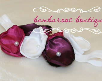 plum baby headband on a soft white elastic, fushia headband, baby headband, newborn headbands
