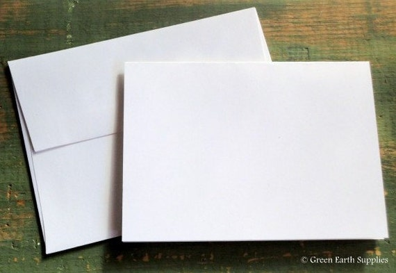"""50 A7 Folded Cards & Envelopes: 5 1/8 x 7"""" (130 x 178 mm) or 5x7"""" folded cards envelopes, ecofriendly, bright white or ivory, 80lb./218gsm."""