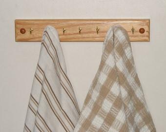 Oak Key Rack 7 Hook. Natural or Dark. Kitchen Rack.  Jewelry Rack. Free Shipping