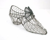 Vintage Inspired Shabby Wire Shoe Form with Bow for Altered Pincushion