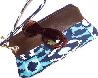 Leather Bag Clutch Wristlet Handbag Repurposed Leather and Southwest Print