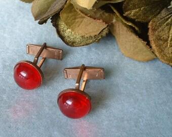 Vintage Antique Art Deco Red Glass Cabochon Cufflinks Classics