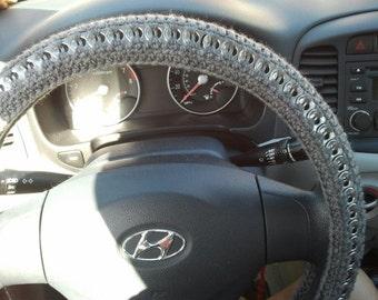 Crochet recycled pop tab steering wheel cover for Paracord steering wheel wrap