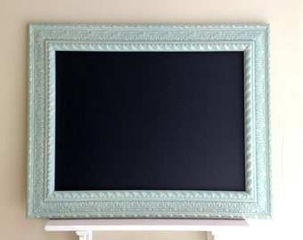 Blue CHALK BOARD Wedding Menu Sign Robins Egg Blue Framed Chalkboard Vintage Ornate Kitchen Office Bulletin Board Black Board - MoRE COLORS