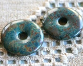 2pcs Blue Sky Jasper 30mm Donut Gemstone Beading Component