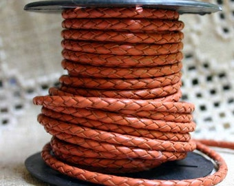 1 meter of 3mm Orange Round Braided Bolo Round Leather Cord