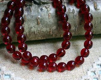 66pcs Preciosa Czech Pressed Glass Beads Druk Garnet Red  Round 6mm 16in Thanksgiving Color