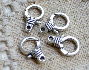 8pcs Clasp Lobster Claw Antiqued Silver Finished Pewter 15x12mm Ribbed Design