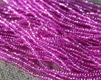 Seed Bead Jablonex Ornela Preciosa Czech Glass Square Size 11 - silver-lined dark pink