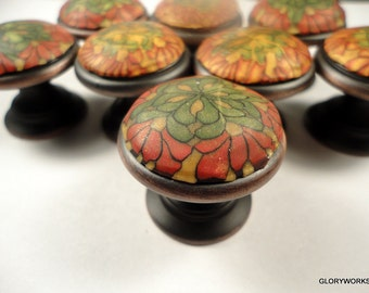 Cabinet knobs pulls Handmade set of 8 Polymer clay/metal Ready to ship Decorative bathroom knobs Unique Dresser drawer knobs Rust Gold Green