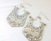 Dangle Earrings-Sterling Silver Hand Stamped Drop Earrings