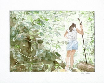 Woman in the Woods- Original Watercolor Painting