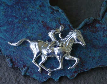 Racehorse and Jockey Brooch Equestrian Jewelry
