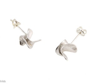 Sterling Silver Abstract, Kinetic Form Post Stud Studs Earrings, AC0065-ss by ashley childs