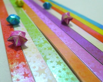 Hidden Treasures - Starry Starry Night Pearlescent Origami Lucky Star Paper Strips - flat pack of 50 strips