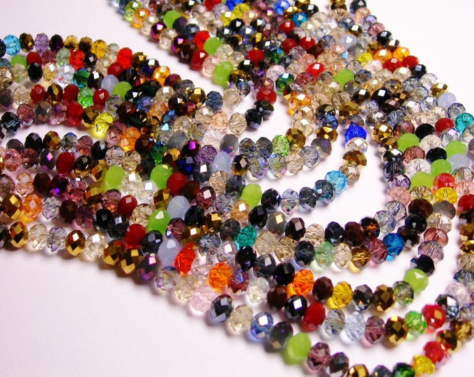Crystal faceted rondelle -  72 pcs -  8 mm - A quality - mix color  - full strand - WCMC1