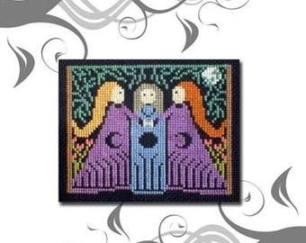 PDF E pattern emailed Women Forest Wicca Triple Moon Cross Stitch pattern sampler design 15 *
