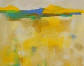 Bright Yellow Abstract Landscape Painting- Yellow Mix, Blue Accent 24 x 36