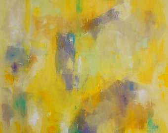 Large Yellow Abstract Original Painting on Canvas -Rise to the Sun 36 x 48