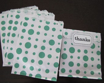 Paper Bags-Polka Dot Bags-Set of 50- 6.5 x 5 inch Bags-Favor Bags-Treat Bags-Green and White