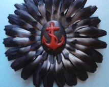 A Pirates Dream Charcoal black and red anchor daisy hair accessory