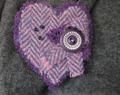 Harris Tweed Fabric Brooch Jewelry Accessory. Passionate Purple Heart shape for lapel or collar. Scottish Fashion accessory. Bridesmaid.