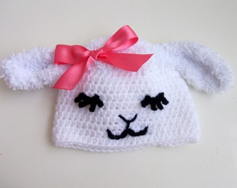 Little Lamb Hat with pink ribbon-For Her,Photo Prop,  for Baby or Toddler-Baby Girl or Boy Hat