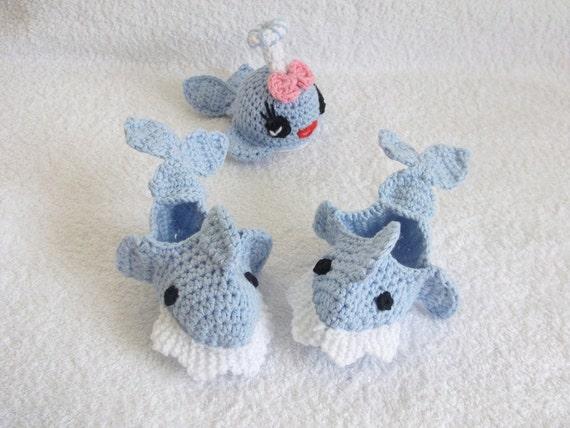 Crochet Pattern For Baby Shark Booties : COTTON Crochet Baby Shark slippers Blue house shoes-Crochet