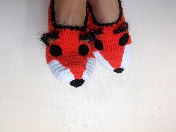 Fox Slippers-Foxy-Home Slippers-women, men, children, teens,renard,Winter Warm -Unisex Funny Chunky Crochet Fox-Fathers Day