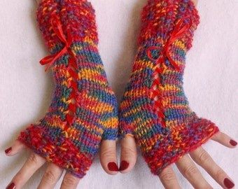 Red Fingerless Gloves Corset Wrist Warmers Red Blue Yellow Green