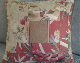 Quilted Log Cabin Pillow Coral, Cream, and Tan