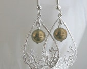 ON SALE Silver Plated Dangle Teardrop Earrings with Bronze Swarovski Pearl