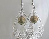 ON SALE Silver Plated Dangle Teardrop Earrings with Bronze Swarovski Pearl