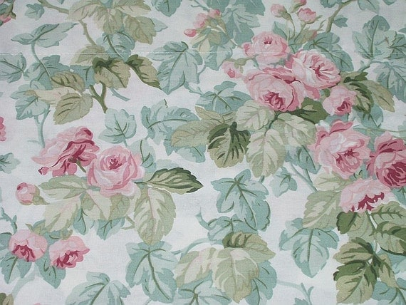 Vintage laura ashley pink roses fabric valance drapery window - Telas laura ashley ...