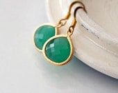 Palace Green Earrings, Green Glass Pendant Gold Filled Earrings, Green Apple Earrings, Bridesmaid Earrings, Spring Fashion, Wedding Jewelry