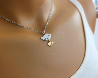 Mother and Son Necklace, Family Necklace - Also Available in Gold, Family Bird Necklace, Baby Shower Jewelry, New Mothers Gift, Mom Necklace