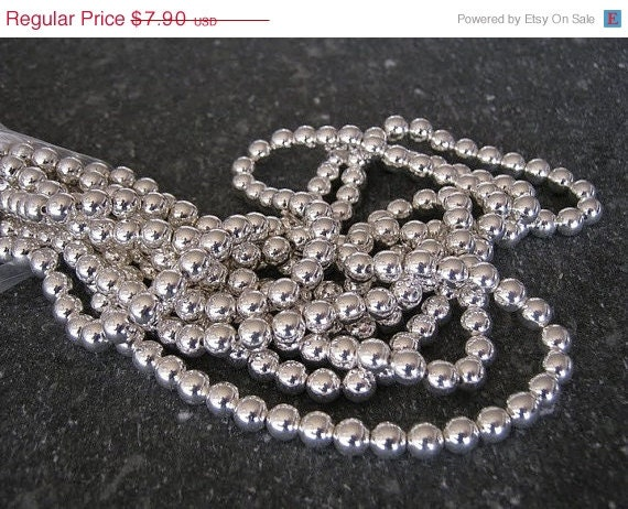 Vintage 6mm Silver Plated Acrylic Round Beads (270)