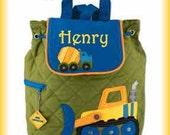 Boy Toddler Backpack Construction Truck Quilted Backpack Embroidered- Backpacks for Kids- Preschool Backpack- Backpack