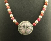 Purple Dragonfly Necklace with Crazy Lace Agate Swarovski Pearls
