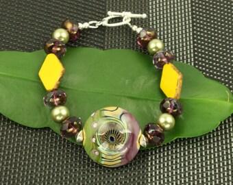 Purple Green Lampwork Glass Bracelet OOAK Sterling Silver