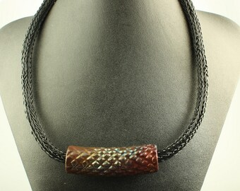 Black  Viking Weave Necklace with Raku Tube Pendant OOAK Statement Jewelry
