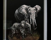 Scratch Art Elephant and Baby, Black and White Art, Scratch Art and Colored Pencil Animal Art