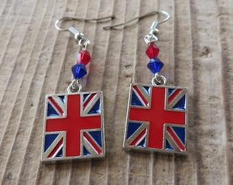 British Flag Charm Dangle Earrings