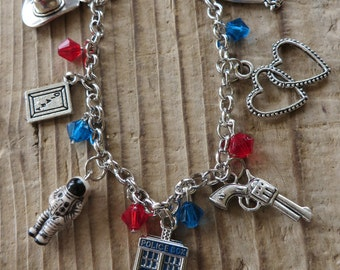 River Song and the Doctor Who Inspired Charm and Crystal Bracelet