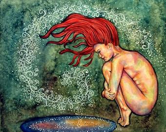 Original Figurative Watercolour Painting - Wash The World Away