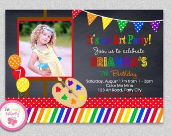 Art Painting Birthday Party Invitation or Chalkboard Rainbow Art Birthday Invitation