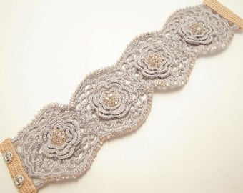 Irish Crochet Lace Jewelry (Irish Love I-c) Fiber Jewelry, Crochet Bracelet, Wide Bracelet