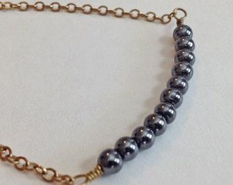 ON SALE!!  Black Hematite Beaded and Gold Chain Bracelet