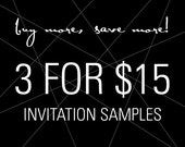 Set of 3 Unique Invitation Samples for your Wedding, Cocktail Party, Birthday, Bachelorette, Bar/Bat Mitzvah, Anniversary & Corporate Event