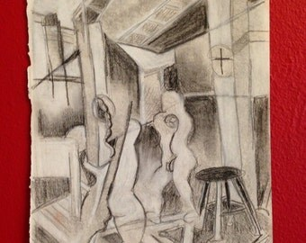 Cubist black and white figure drawing